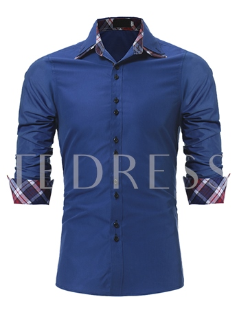 Plaid Print Plain Slim Men's Shirt