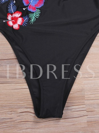 Floral Embroidery Falbala One Piece Bathing Suits