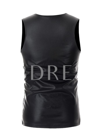 Round Collar Plain Slim Men's Vest