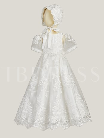Short Sleeves Appliques Ball Gown Christening Dress