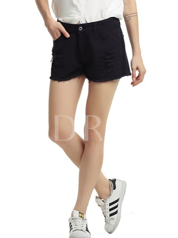 High Waist Button Hole Women's Shorts