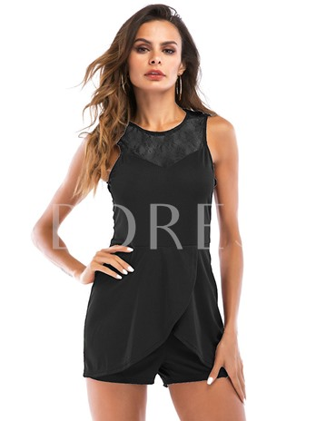 Lace Hollow Mid-Waist Women's Rompers