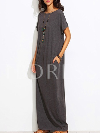 Casual Round Neck Plain Maxi Dress