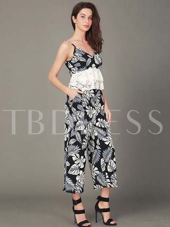 Print Lace Vest and Pants Women's Two Piece Set