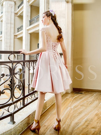 A-Line Scoop Appliques Sashes Prom Dress