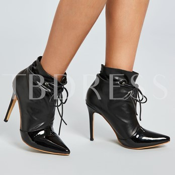 Pointed Toe Slip-On Stiletto Heel Women's Ankle Boots