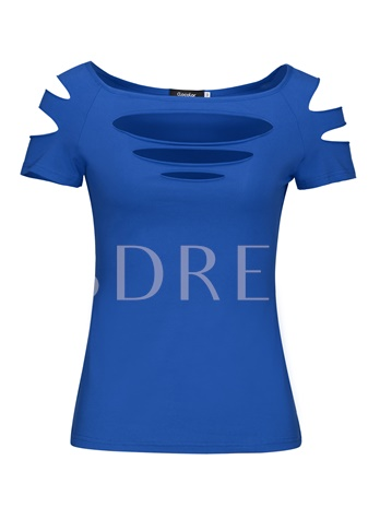Solid Color Short Sleeve Hole Women's T-Shirt