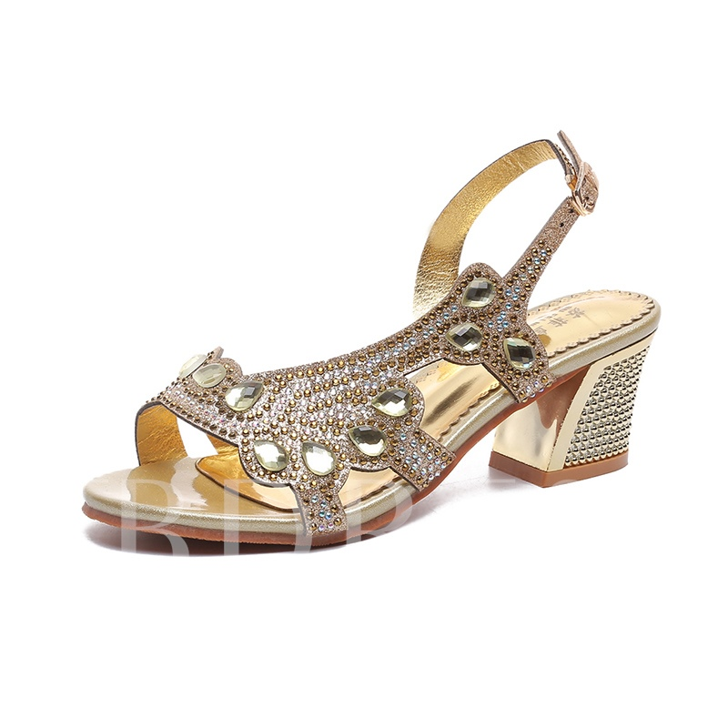 Rhinestone Shoes Chunky Heel Women's Buckle Sandals