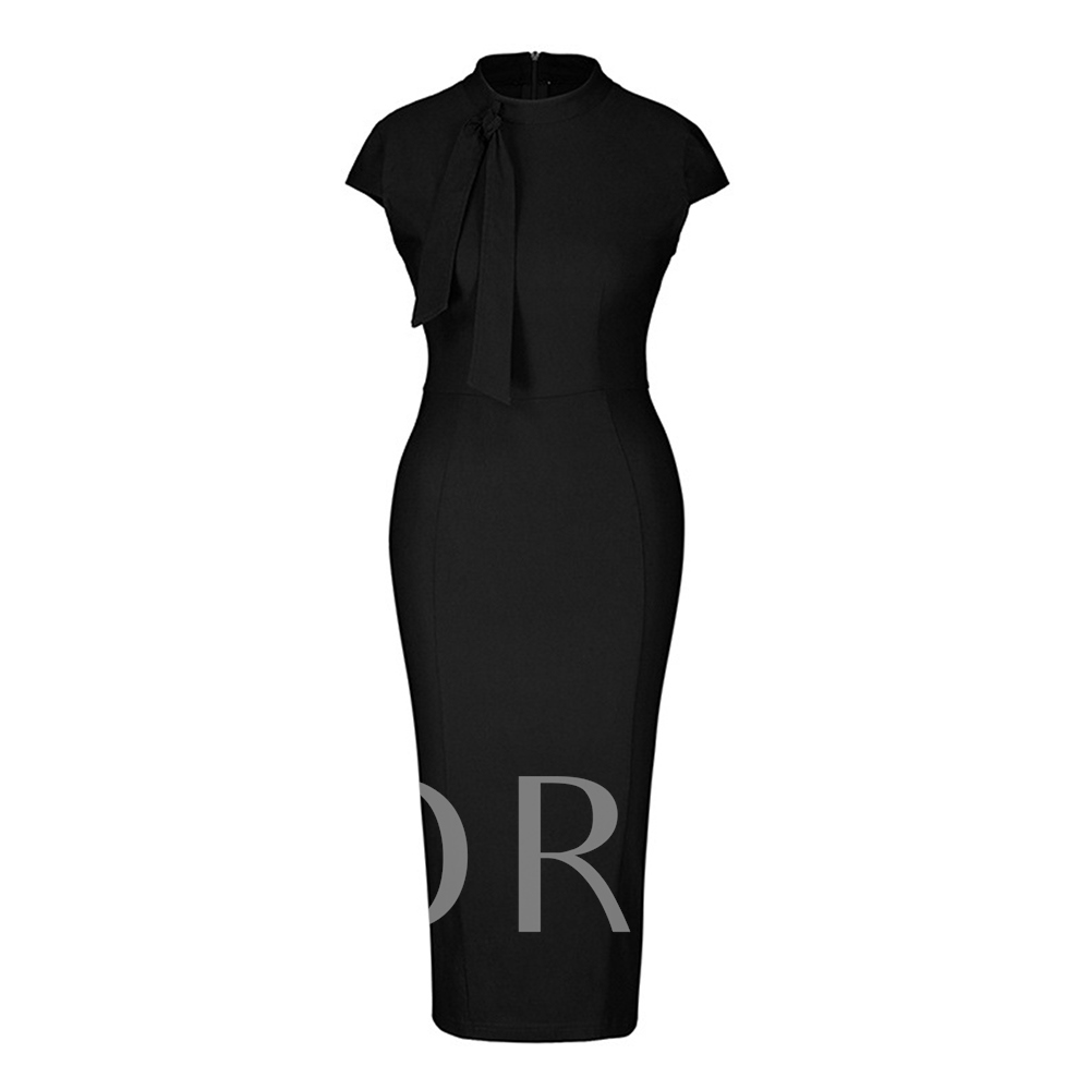 Buy Tie Neck Solid Pencil Sheath Dress, Summer, 13251616 for $19.85 in TBDress store