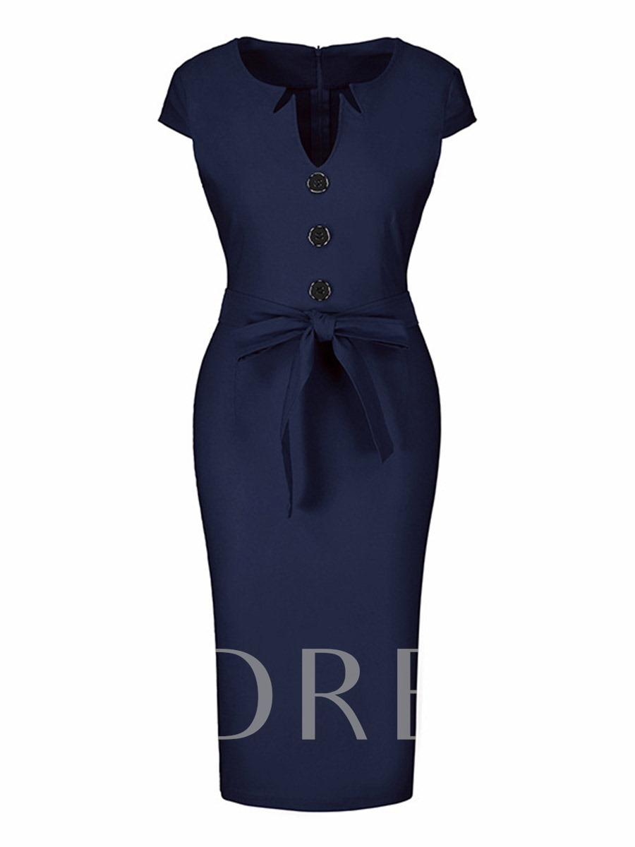 Office Button Solid Color Pencil Sheath Dress, Summer, 13251633