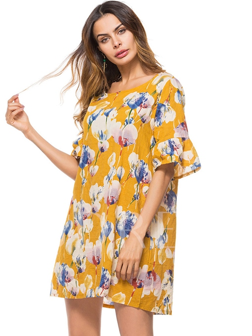Summer Round Neck Floral Women's Day Dress
