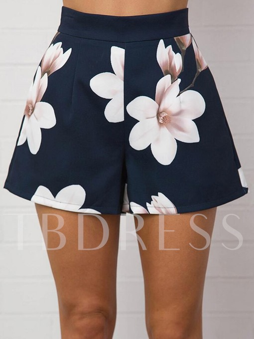 Flower Print High Waist Pocket Women's Shorts