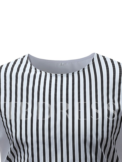Dashiki Style Stripe Print Slim Men's T-Shirt