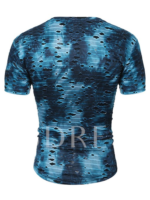 Hole V-Neck Slim Fit Men's T-Shirt
