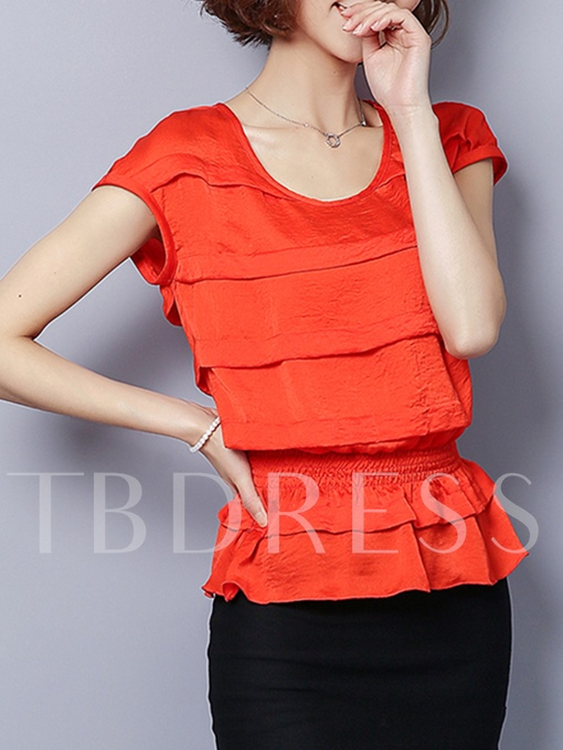 Short Sleeve Cake Shape Strechy Waist Women's Blouse