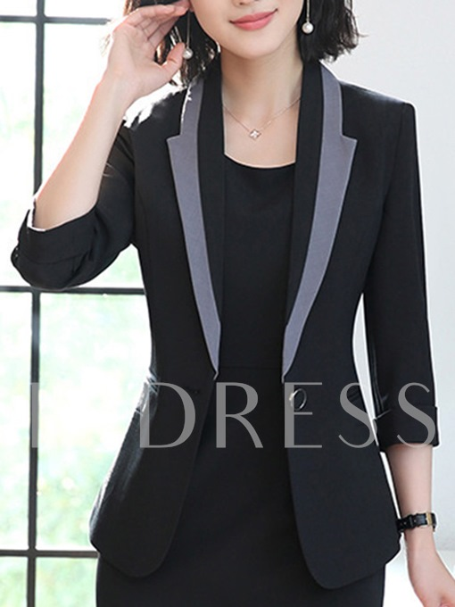 One Button Color Block Women's Casual Blazer