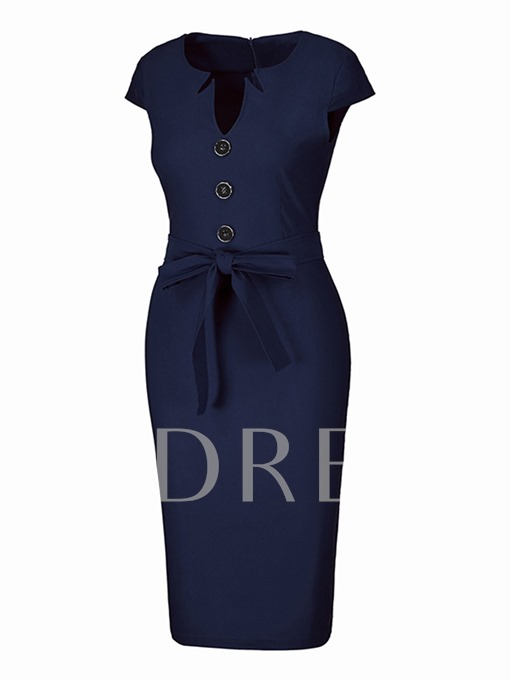 Office Button Solid Color Pencil Sheath Dress