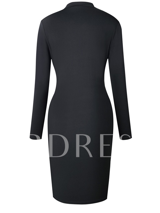 Embroidery Long Sleeve Stand Collar Sheath Dress