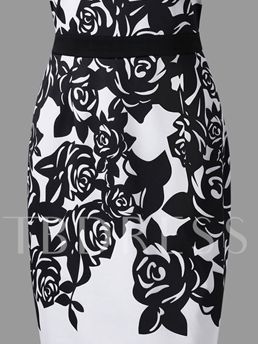 Plus Size High Waist Print Floral Sheath Dress