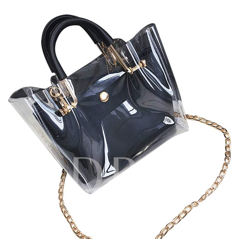 Dazzling PVC Color Block Small Tote Bag