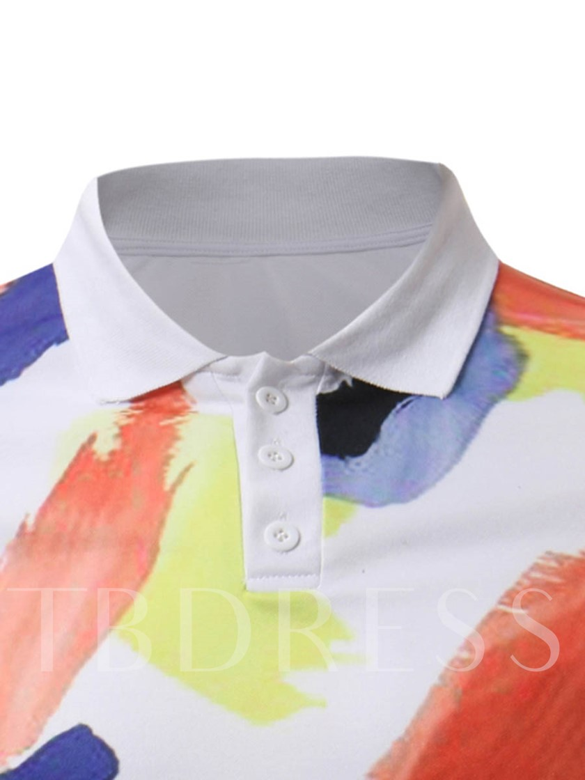 Lapel Color Block Print Slim Men's Polo
