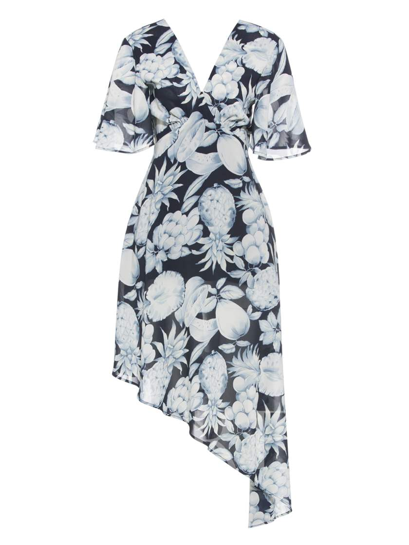 V-Neck Floral Print Back Zip Day Dress
