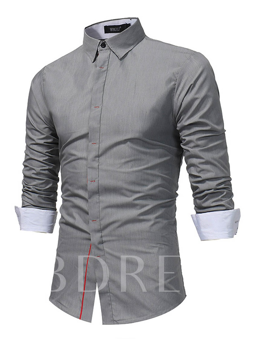 Lapel Plain Color Block Men's Shirt