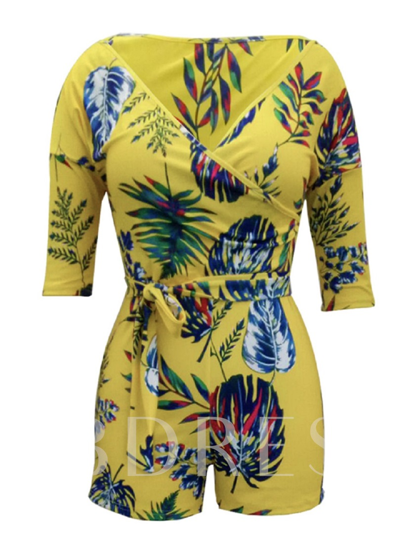 Floral Print V Neck Women's Rompers