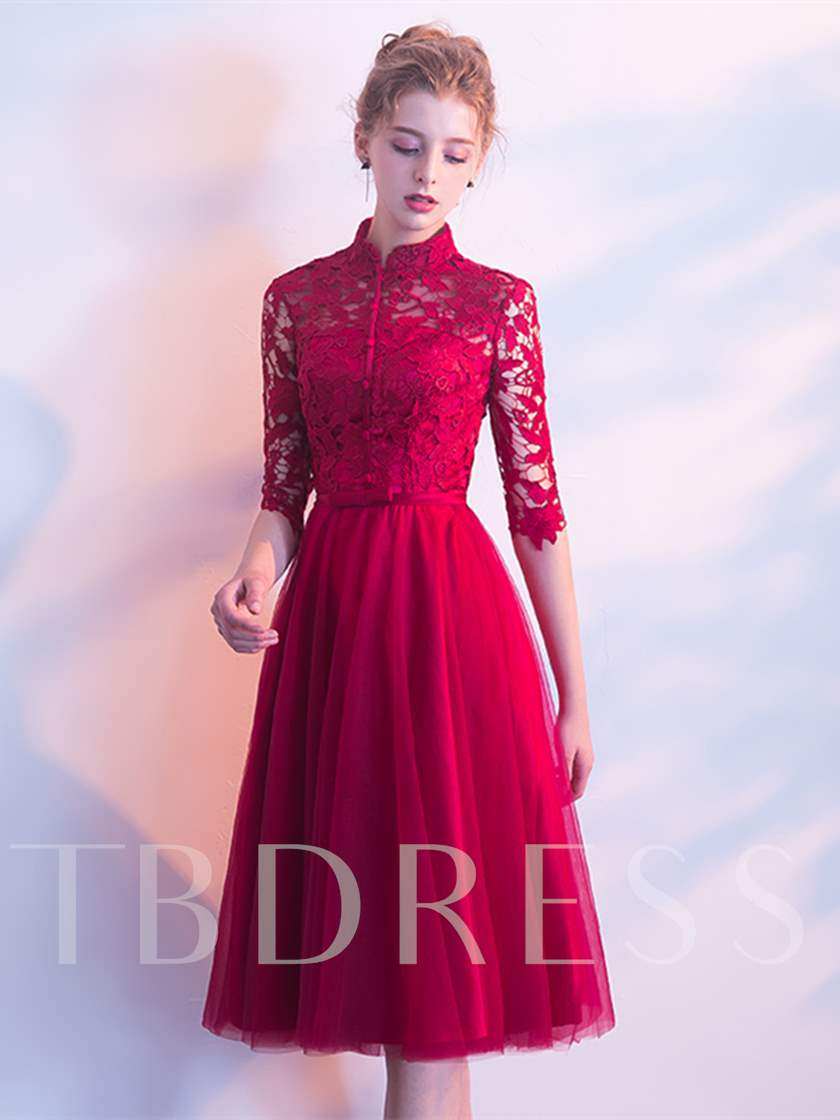 A-Line Half Sleeves High Neck Lace Prom Dress