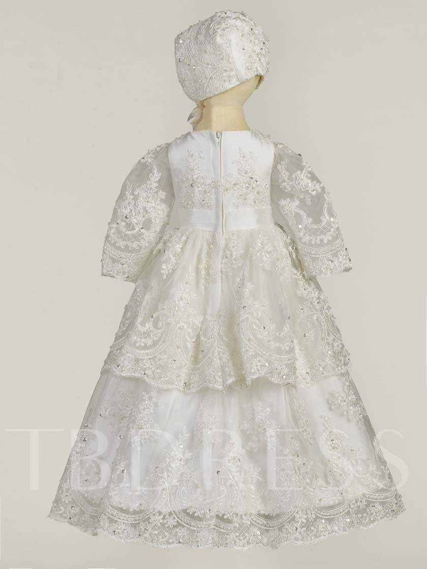 Baby Girls Shiny Beading Appliques Lace Christening Gown