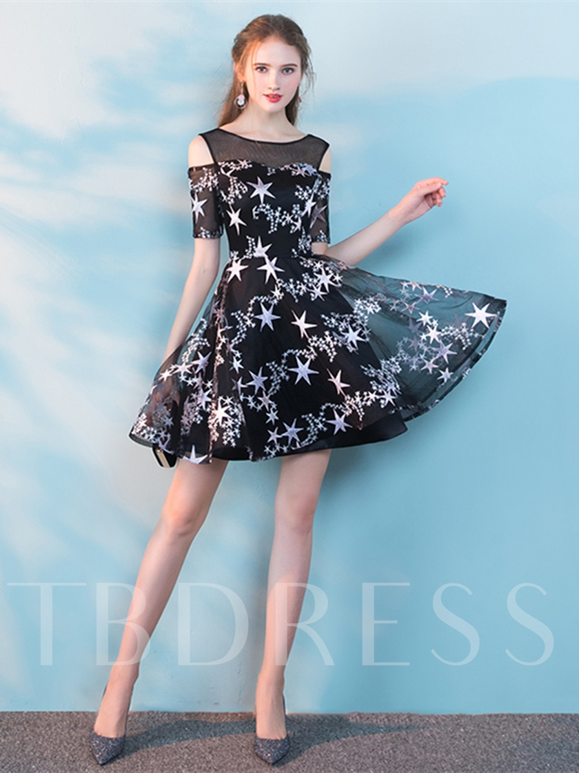 A-Line Lace Short Sleeves Scoop Cocktail Dress