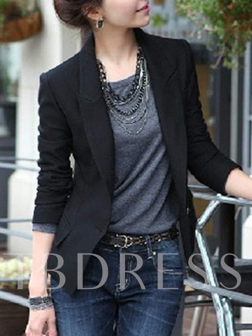 One Button Slim Fit Solid Color Women's Blazer