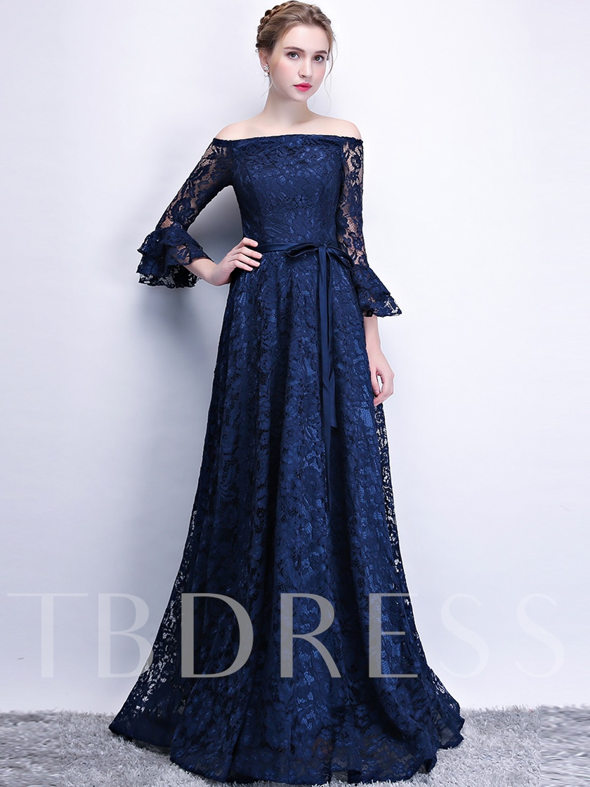 A-Line Off-the-Shoulder Lace Sashes Evening Dress