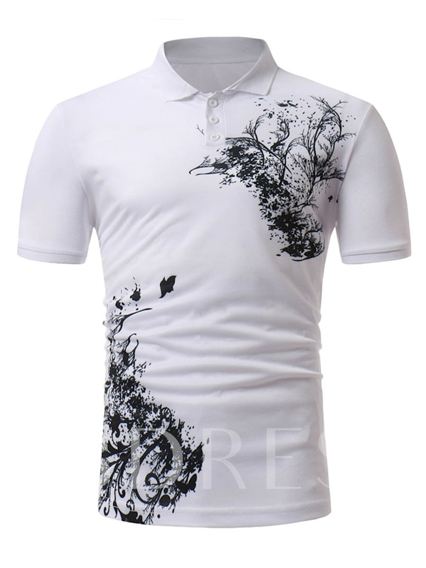 Lapel Classic Black&White Slim Men's Polo