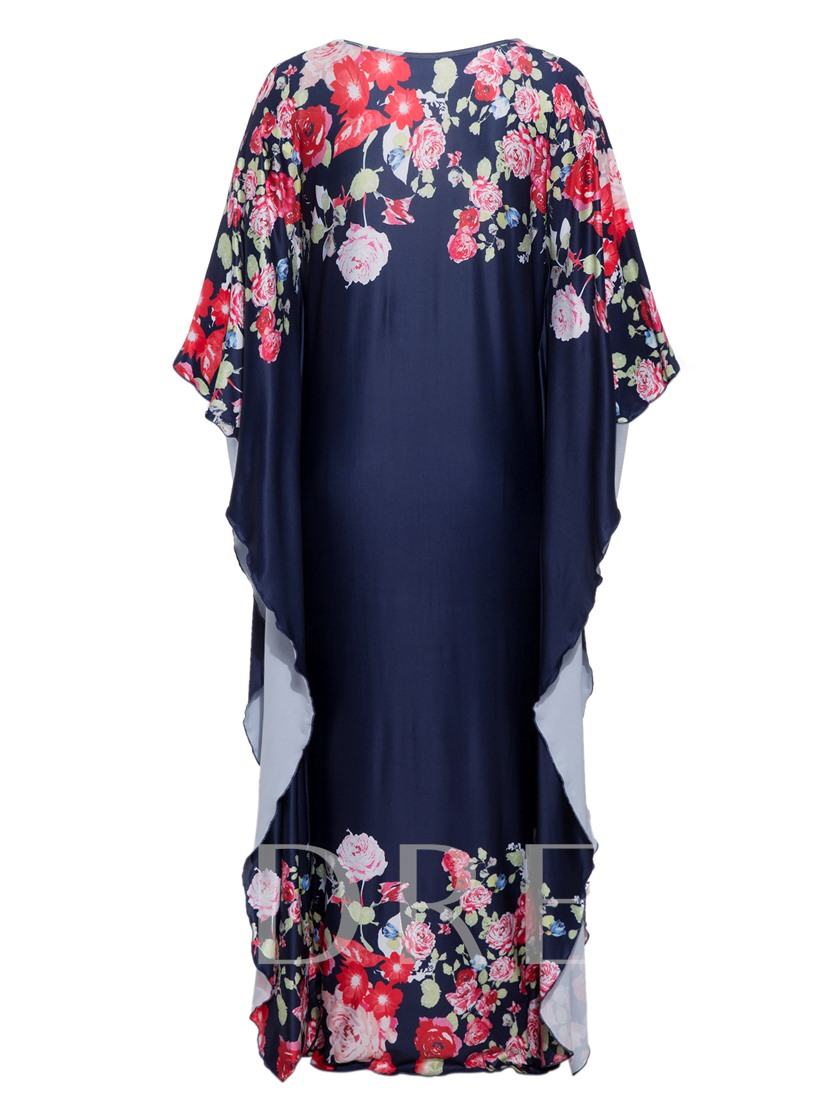 Cape Shoulder Double-Layered Flower Women's Maxi Dress