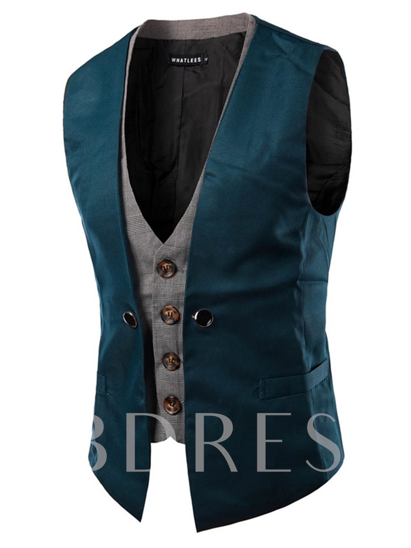Fake Two Piece Color Block Slim Fit Men's Vest