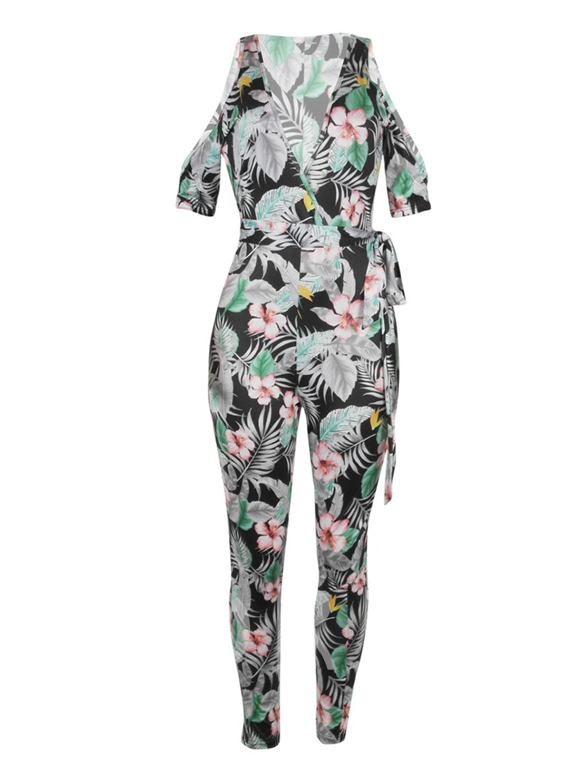 Cold Shoulder Floral Print Tie Waist Women's Jumpsuit