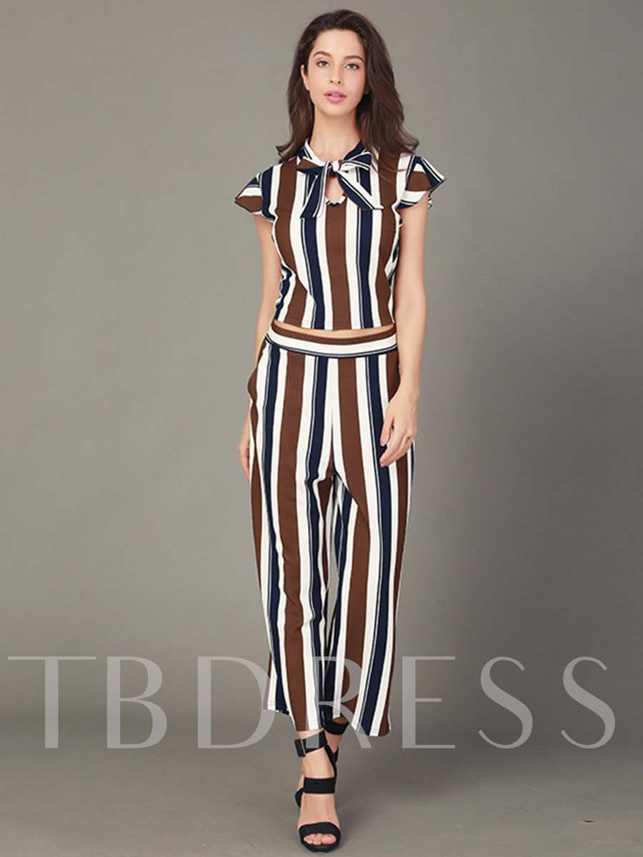 Buy Stripe Tops and Ankle Length Pants Women's Two Piece Set, Summer, 13301361 for $12.50 in TBDress store