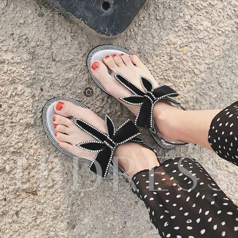 Rhinestone Bow Thong Sandals Women's Flats