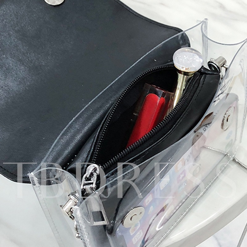 PVC Plain Color Block Chain Women Crossbody Bag