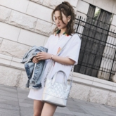 Fashion Quilted Lining Zipper Tote Bag