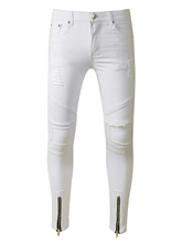 White Hole Zipper Slim Fit Men's Jeans