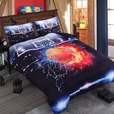 Basketball Ball in Fire and Water Printed Cotton 3D 4-Piece Bedding Sets/Duvet Covers