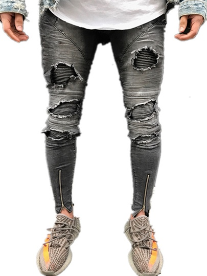 Hole Patchwork Slim Fit Men's Jeans