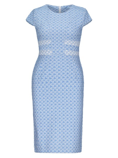 Blue Pencil Round Neck Print Sheath Dress