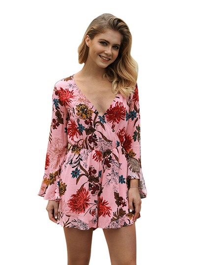 Bohemia Floral V-Neck Women's Rompers