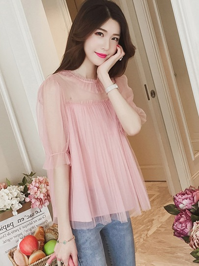 Loose Sheer Long Sleeve Lace Women's Blouse
