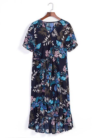 Floral Print V-Neck Summer Day Dress