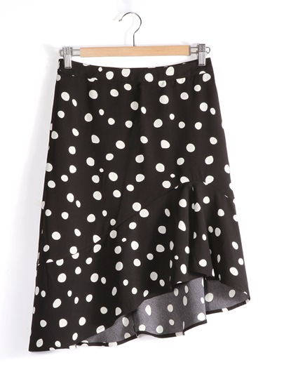 Polka Dots Short Ruffled Women's Skirt