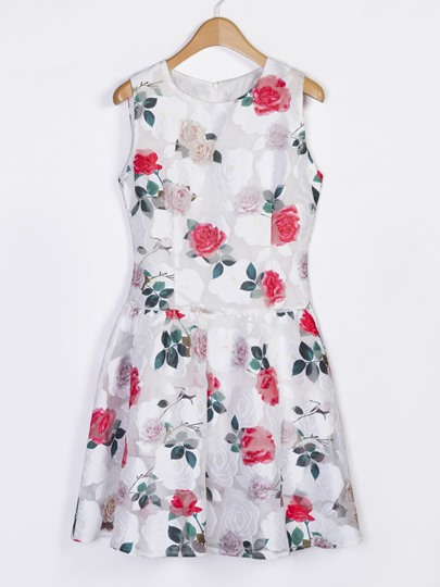 White Floral Print Sleeveless Day Dress